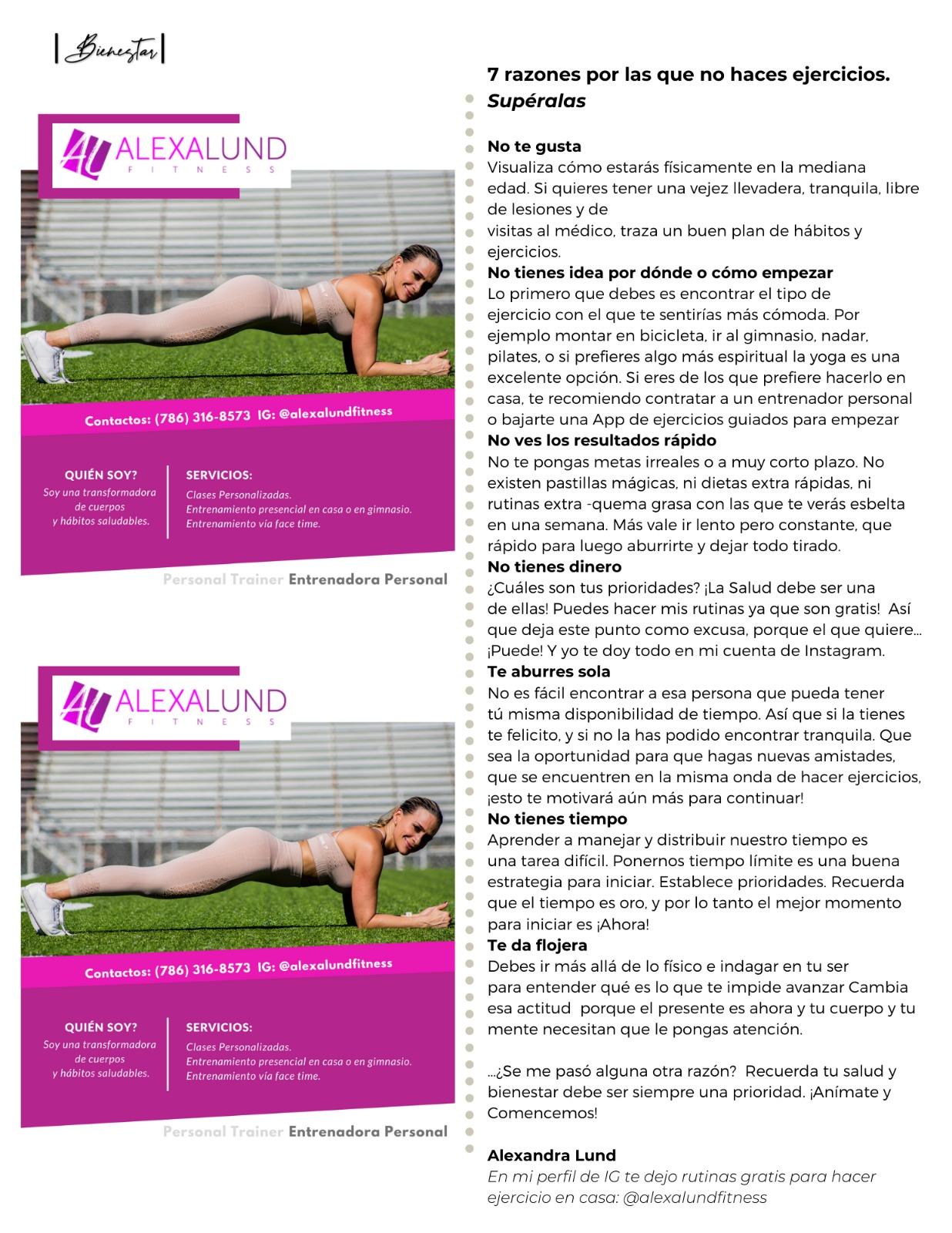 Alexa Lund Fitness en Cincuentasticas