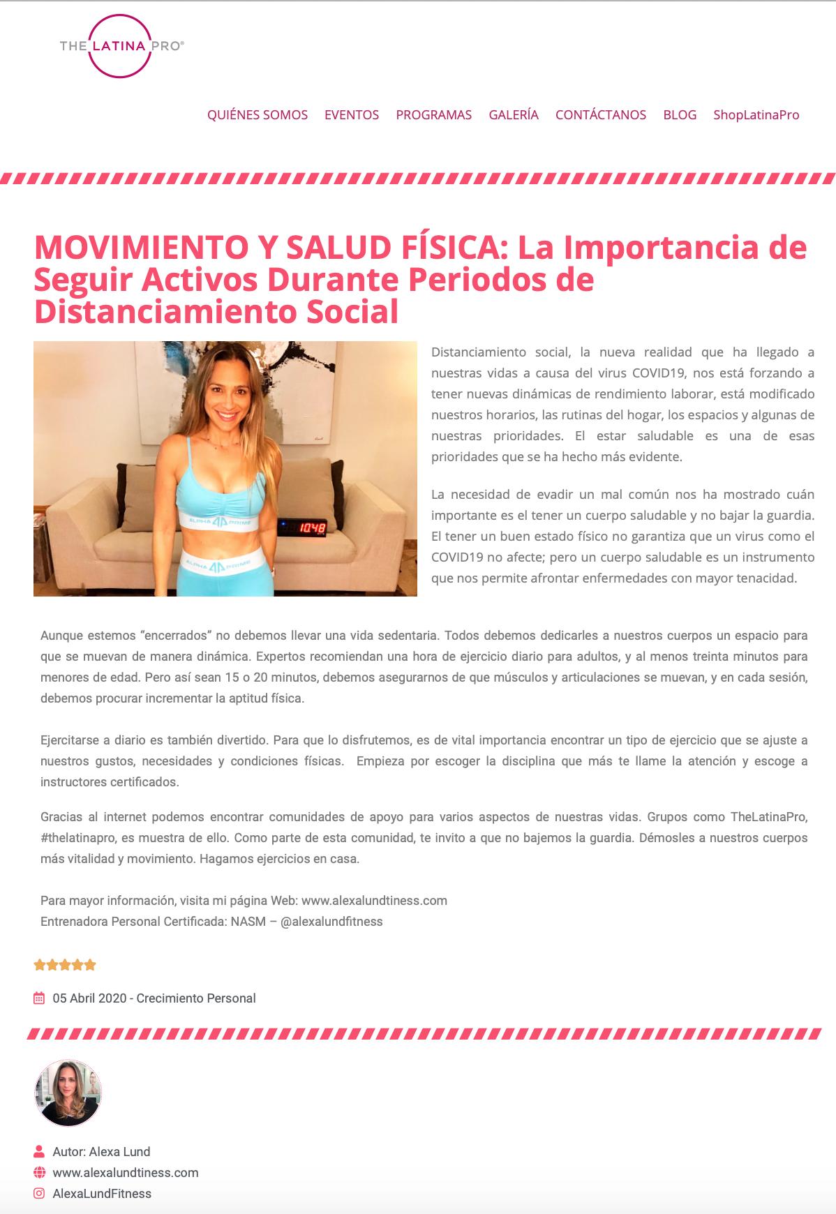 Alexa Lund Fitness en TheLatinaPro