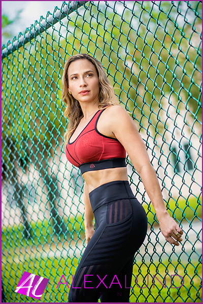 Alexa Lund Fitness - Certified Personal Trainer - Black Leggings and Red Top by Alpha Prime USA