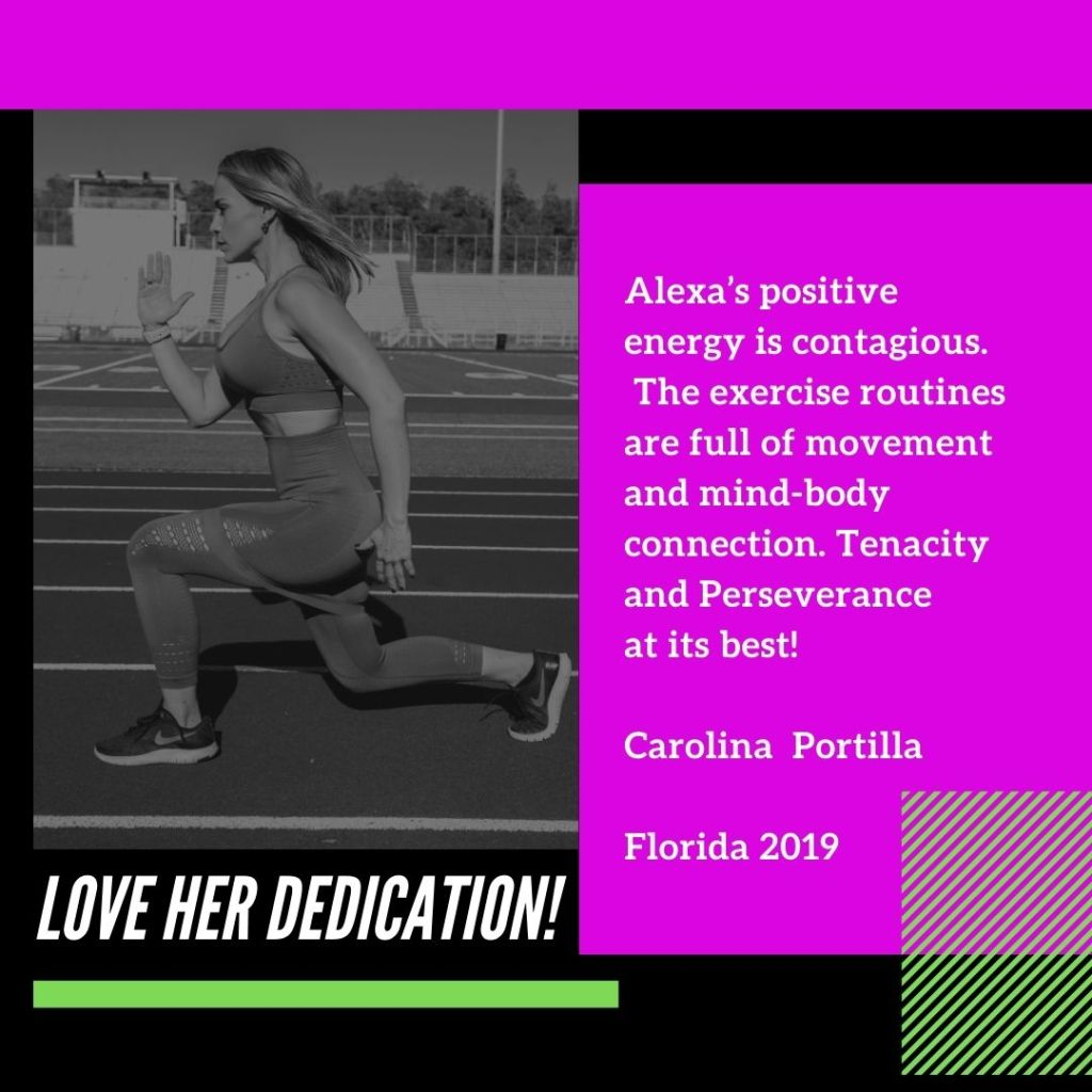 Testimonial #4 by Sandra G: Me encanta entrenar con Alexa Lund Fitness. Testimonial # 2 by Carolina Portilla: I love Alexa Lund's dedication! Tenacity and perseverance at its best!