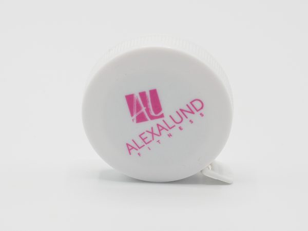 Alexa Lund Fitness Small, White, round Measuring Tape with pink Logo on one side.